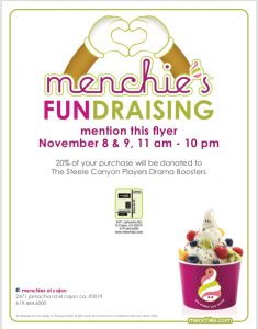 Menchie's Fundraiser to Benefit Steele Canyon Players Drama Boosters Club @ Menchie's Frozen Yogurt