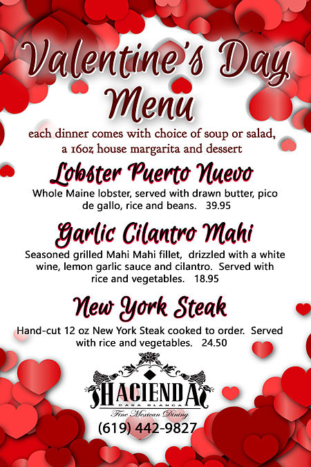 hacienda casa blanca offers a special valentine's day dinner!, Ideas
